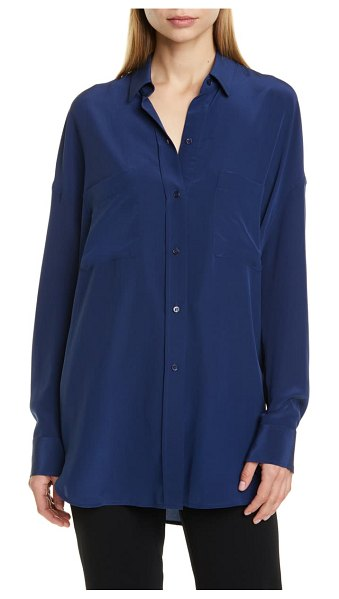 Vince oversize silk button-up blouse in hydra