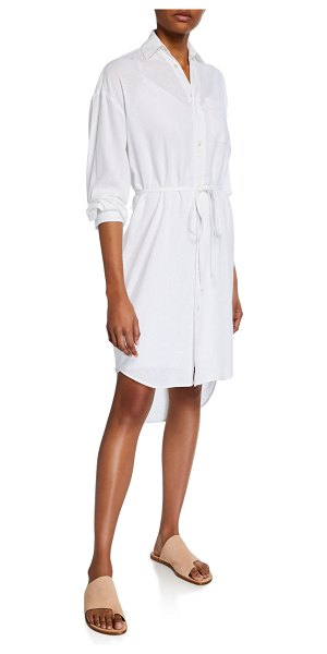 Vince Oversized Button-Down Shirtdress in optic white