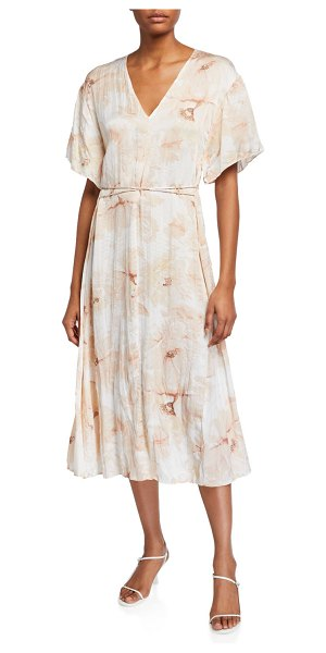 Vince Painted Magnolia V-Neck Midi Dress in off white