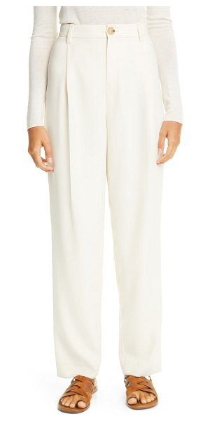 Vince pleat front tapered pants in alabaster