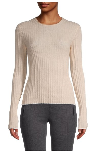 Vince Rib-Knit Cashmere Sweater in pale beige