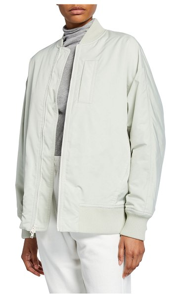 Vince Rib-Trim Bomber Jacket in green