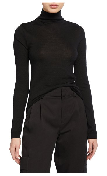 Vince Rib-Trim Raglan Turtleneck Sweater in black
