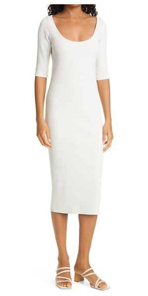 Vince ribbed body-con dress in off white