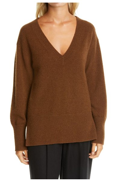 Vince ribbed v-neck cashmere tunic sweater in heather verona