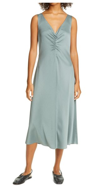 Vince ruched double v-neck sleeveless dress in patina
