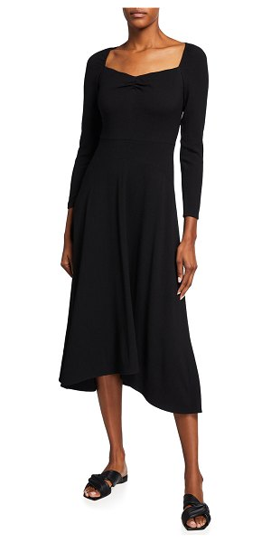 Vince Ruched Long-Sleeve Dress in black