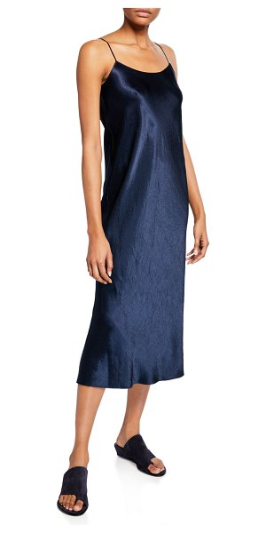 Vince Satin Midi Slip Dress in blue - EXCLUSIVELY AT NEIMAN MARCUS Vince satin dress. Scoop...