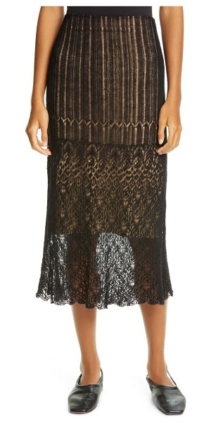 Vince scalloped lace skirt in black