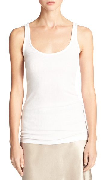 Vince Scoop-Neck Tank Top in white