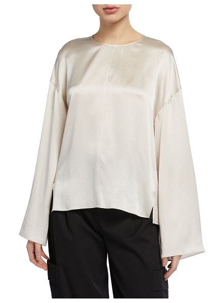 Vince Seamed-Front Long-Sleeve Silk Blouse in white