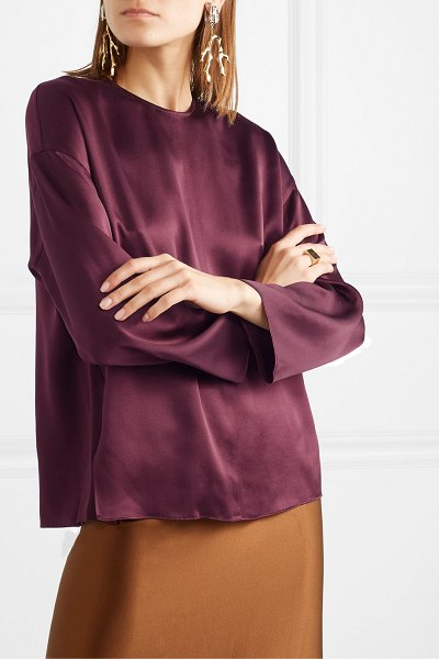 Vince silk-satin blouse in grape