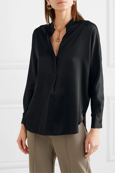Vince silk-satin blouse in black