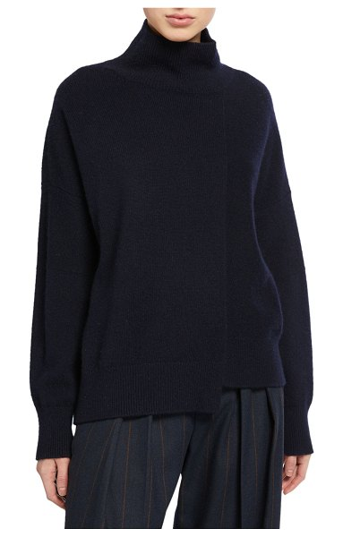 Vince Stepped-Hem Turtleneck Sweater in blue