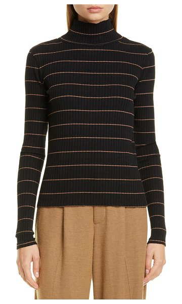 Vince stripe rib stretch cotton turtleneck sweater in black/ ambrette