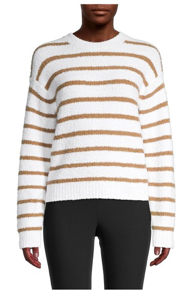 Vince Striped Waffle-Knit Sweater in optic white