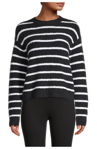 Vince Striped Waffle-Knit Sweater in coastal navy