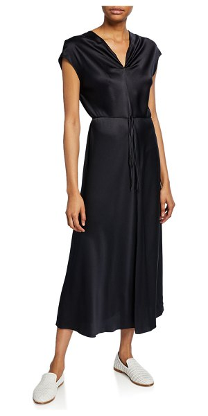 Vince V-Neck Draped Silk Dress in black