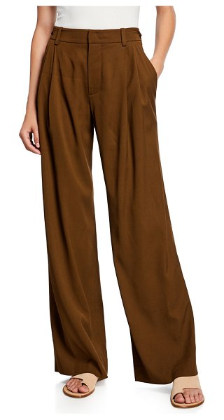 Vince Wide-Leg Pleated Viscose Trousers in brown