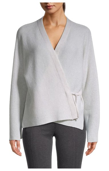 Vince Wool & Cashmere Wrap Sweater in white