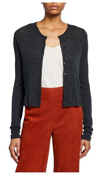 Vince Wool Long-Sleeve Button-Front Cardigan in gray