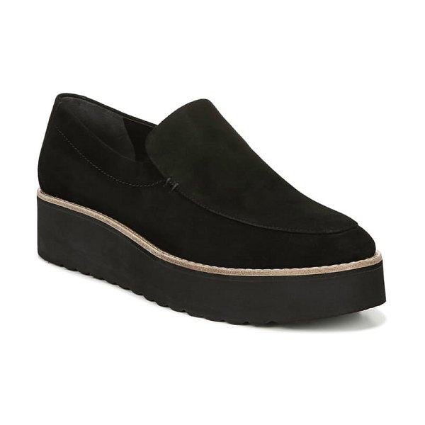 Vince zeta platform loafer in black/ black