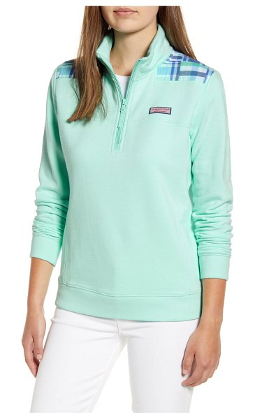Vineyard Vines madras patchwork classic shep pullover in crystal blue