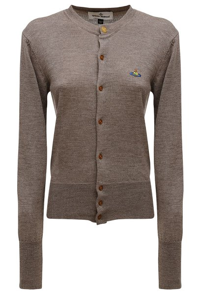 Vivienne Westwood Knit wool cardigan w/ logo embroidery in taupe