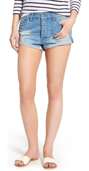 VOLCOM rolled denim shorts - Distressed details and a relaxed boyfriend fit accentuate...