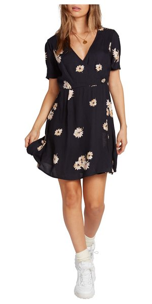 Volcom wrapsicle floral minidress in black