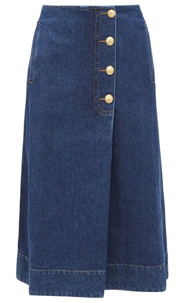 WALES BONNER buttoned denim wrap skirt in denim