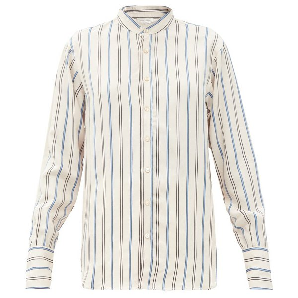 WALES BONNER gladstone stripe-jacquard twill shirt in white multi