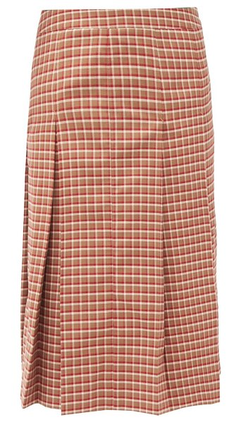 WALES BONNER pleated checked wool-blend midi skirt in red multi