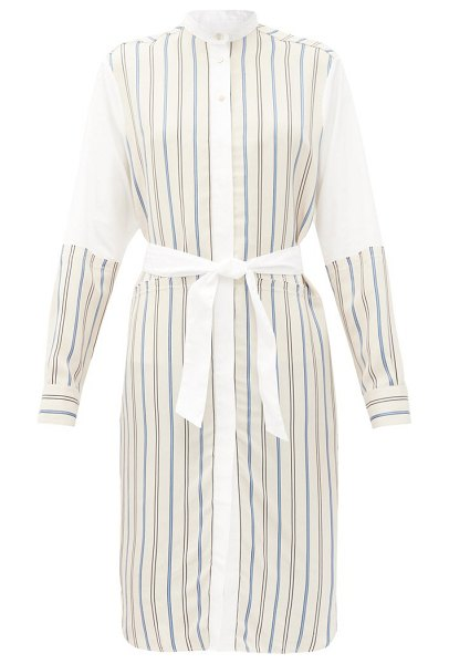WALES BONNER sterling panelled striped shirt dress in white multi