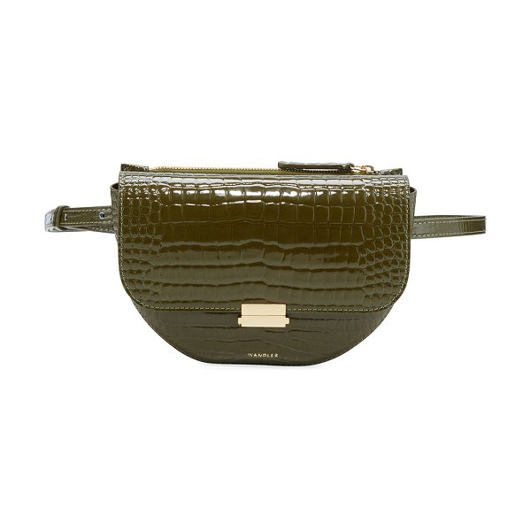 WANDLER Anna Big Leather Belt Bag in olive