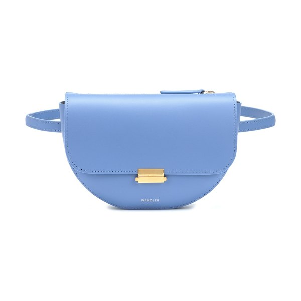 WANDLER Anna Buckle leather belt bag in blue - Sleek lines and fine craftsmanship define Wandler's...