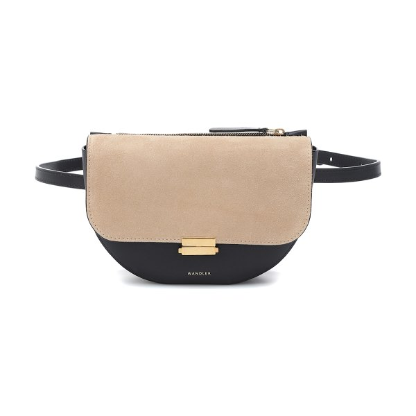 WANDLER anna buckle leather belt bag in black