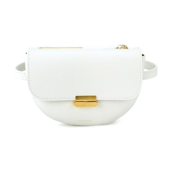 WANDLER anna buckle leather belt bag in white