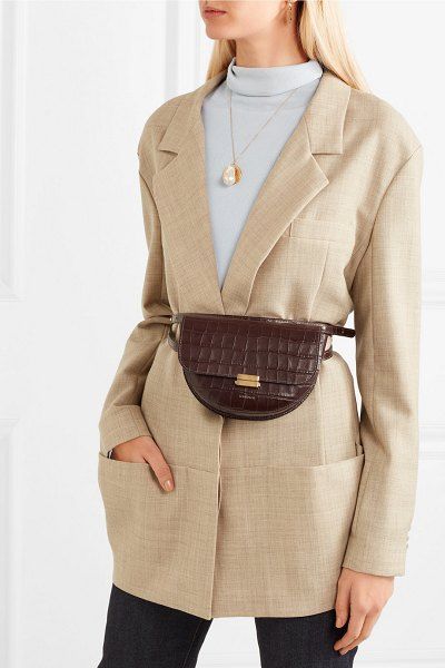 WANDLER anna croc-effect leather belt bag in dark brown - Wandler's 'Anna' design can be worn so many different...