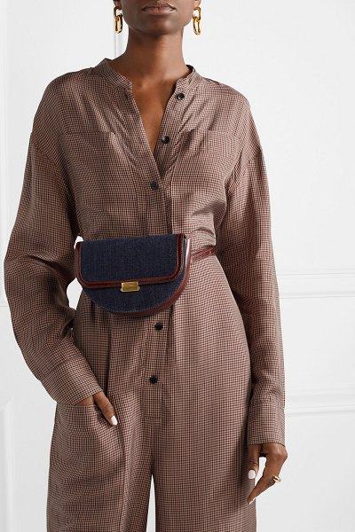 WANDLER anna denim and glossed-leather belt bag in blue