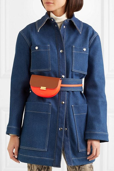 WANDLER anna small two-tone neon leather belt bag in orange
