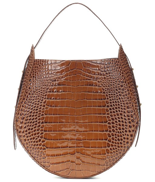 WANDLER corsa croc-effect leather tote in brown