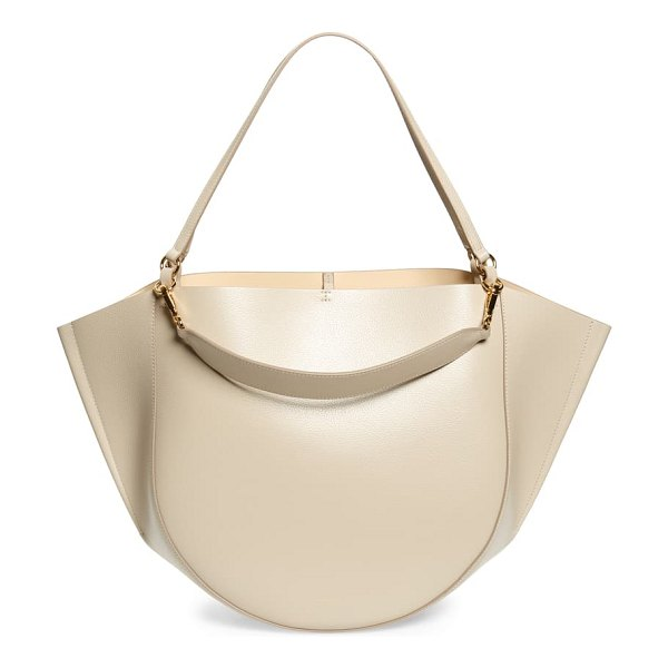 WANDLER mia leather tote bag in oyster crust