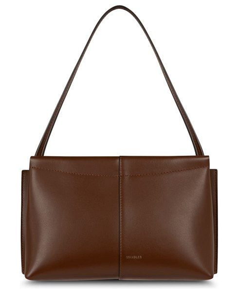 WANDLER mini carly leather shoulder bag in cacao