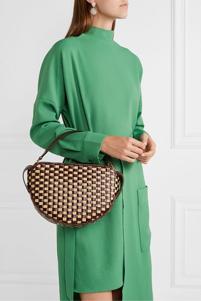 WANDLER yara woven glossed leather and raffia shoulder bag in chocolate