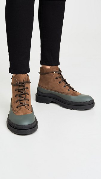 WANT LES ESSENTIELS luton mid work boots in multi tobacco/black