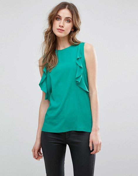 """Warehouse Sleeveless Top With Ruffle Detail in green - """"""""Top by Warehouse, Smooth woven fabric, Round neck,..."""