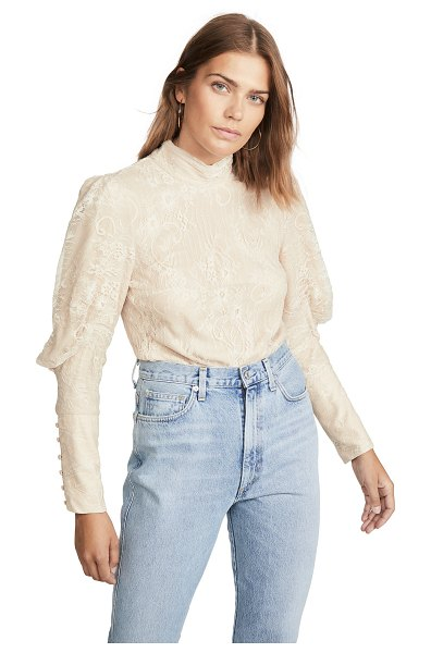 Wayf mabel mock neck top in ivory lace
