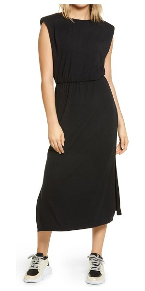 Wayf padded shoulder midi dress in black