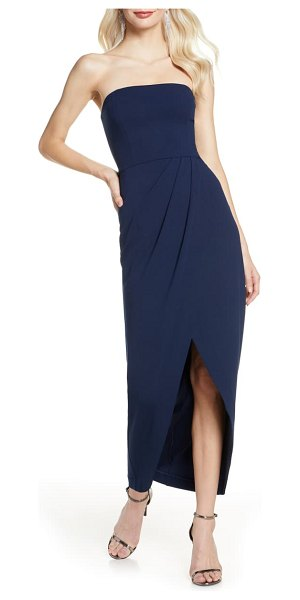 Wayf the angelique strapless tulip gown in navy